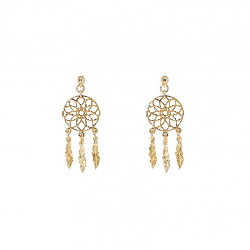 Boucles d'oreilles attrape rêve en plaque or - Les créations de Lili