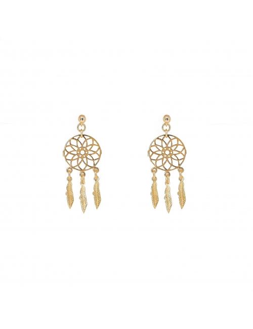 Dream catcher gold earrings - Pomme Cannelle