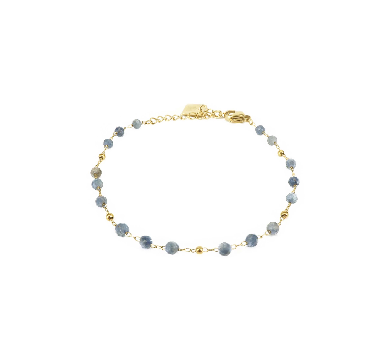 Bracelet stone bille sodalite en acier or jaune - Zag Bijoux