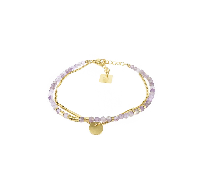 Bracelet stone pastille améthyste en acier or - Zag Bijoux