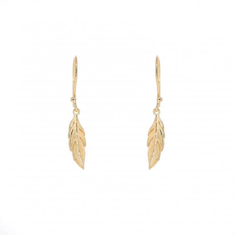 Long feather gold earrings...