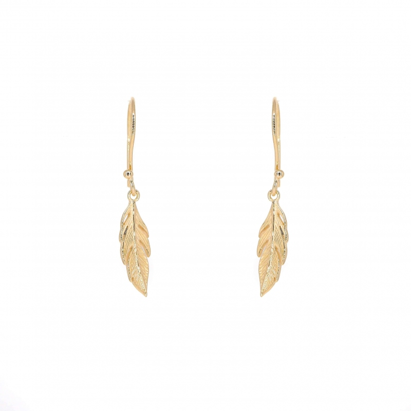 Long feather gold earrings - Pomme Cannelle