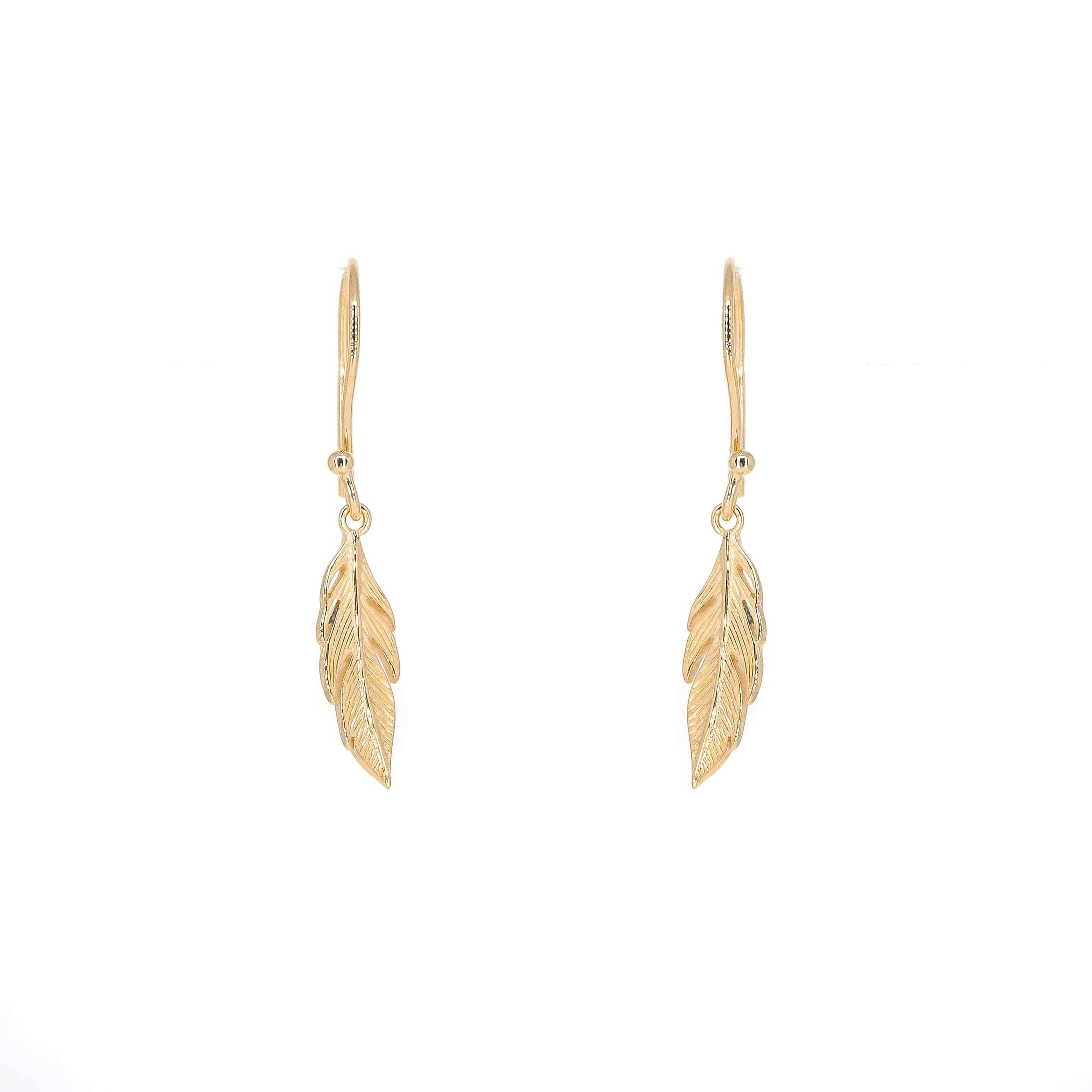 Boucles d'oreilles plume en plaqué or - Pomme Cannelle