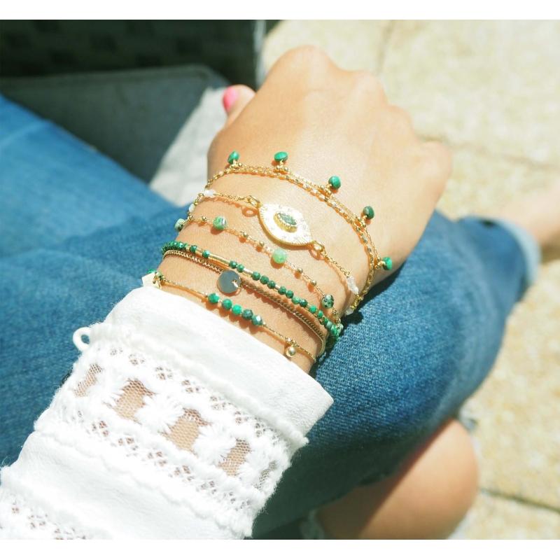 Stone malachite bracelet in...
