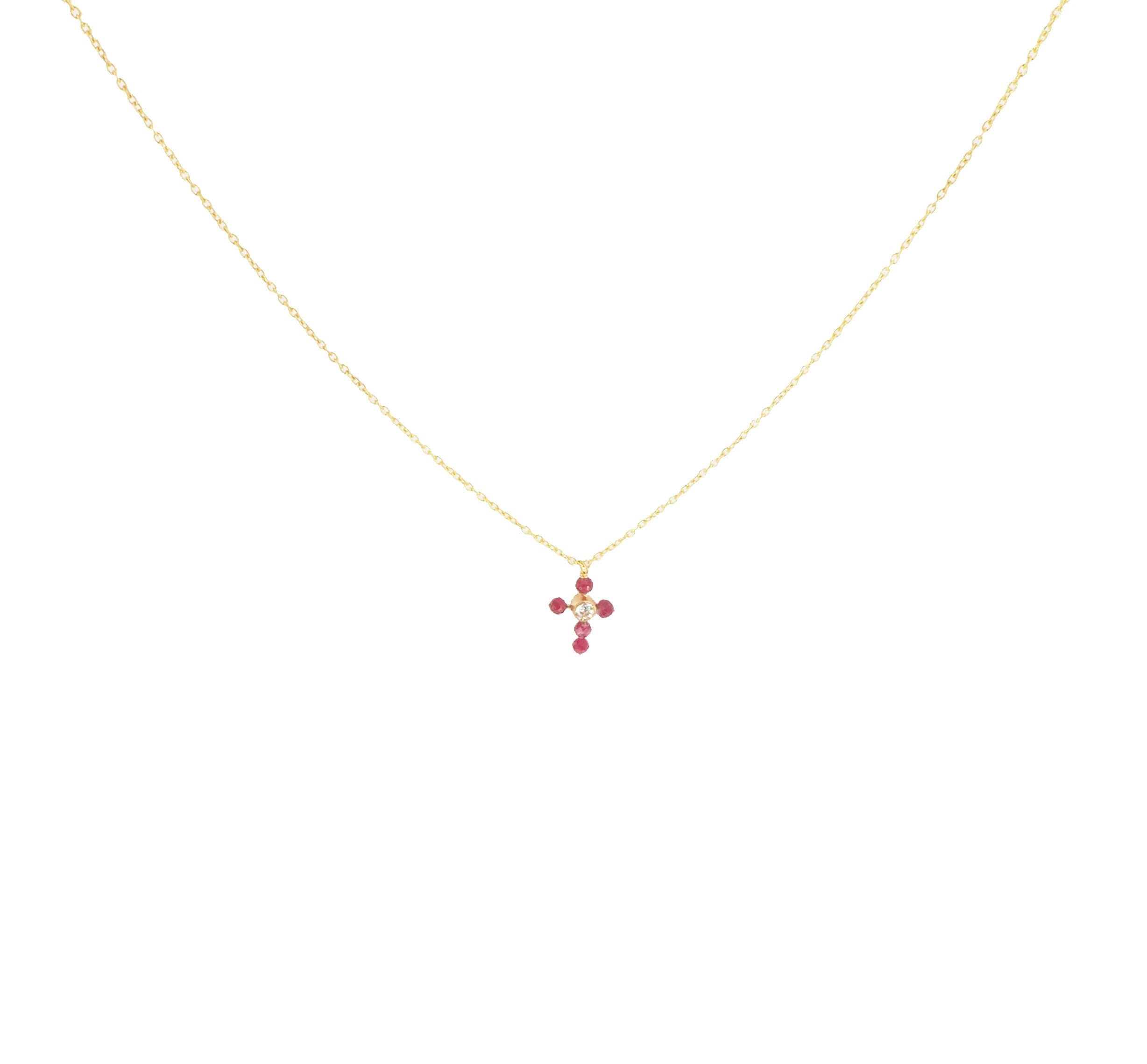 Collier mini croix rubis indien plaqué or - Lucky Team