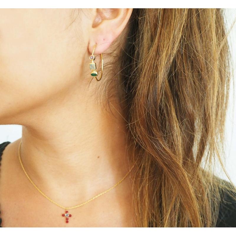Collier mini croix rubis...