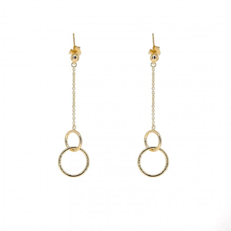 Boucles d'oreilles double cercle plaqué or - Pomme Cannelle