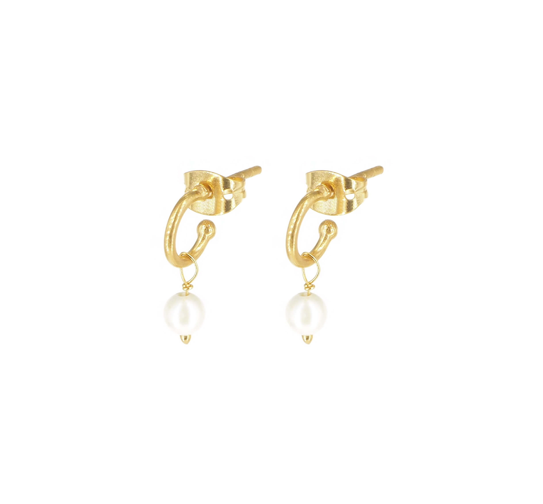 Boucles d'oreilles créoles perle en plaque or - Lucky Team
