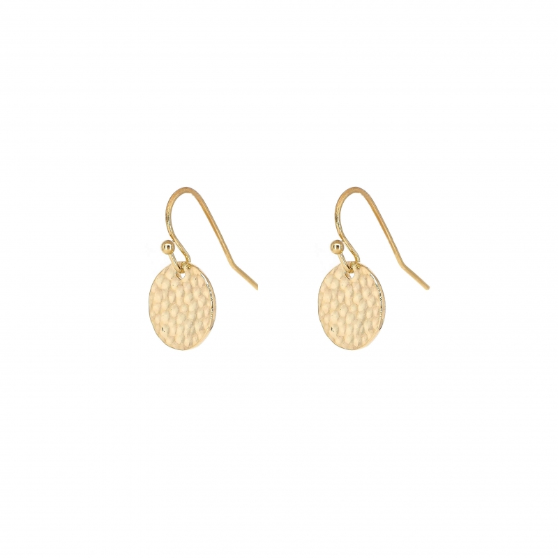 Hammered gold earrings -...