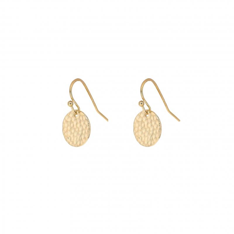 Boucles d'oreilles pastille martelée en plaqué or - Les créations de Lili
