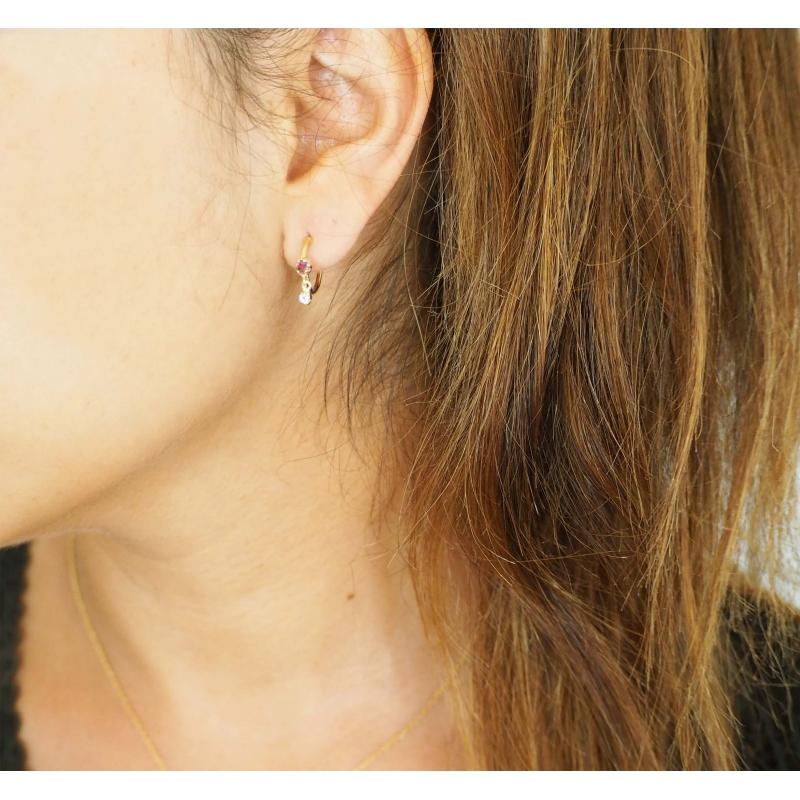 Gold amethyst hoop earrings...