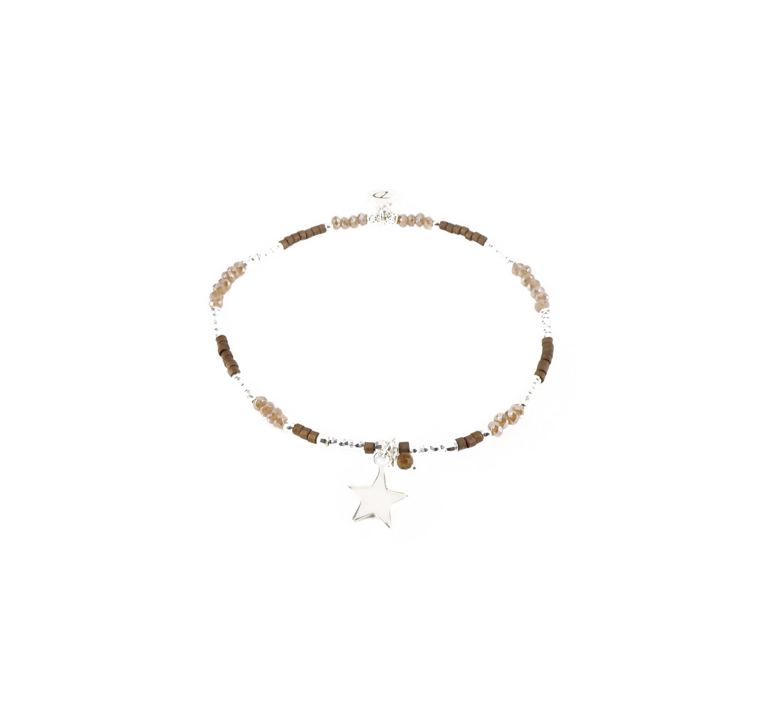 Bracelet élastique étoile marron glacé - Doriane bijoux