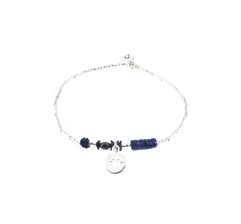 Bracelet élastique étincelle bleu roi - Doriane bijoux