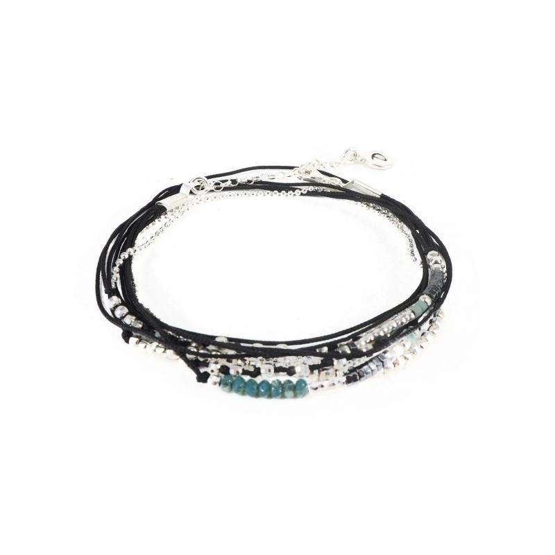 Bracelet multi-tours noir...