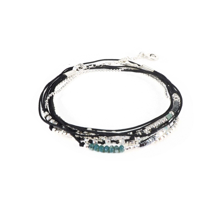 Bracelet multi-tours noir perles vertes  - Doriane bijoux