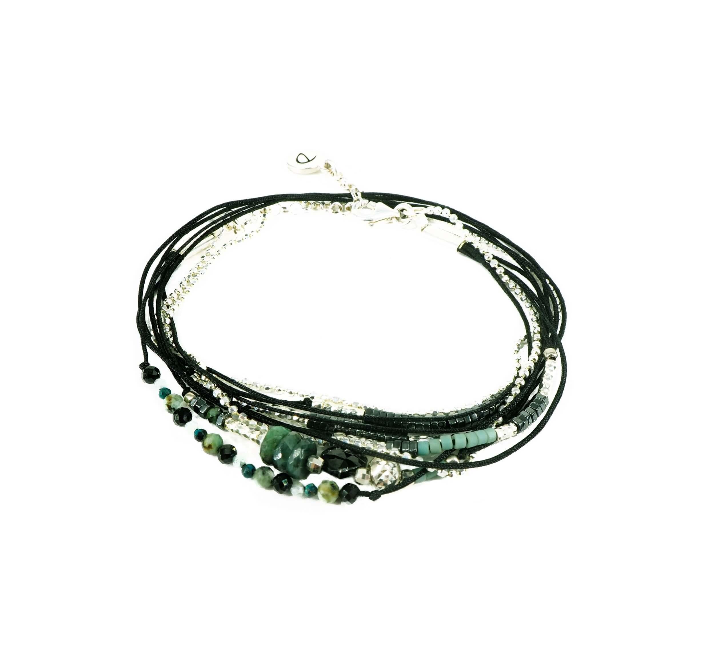 Bracelet multi-tours serenity noir perles vertes  - Doriane bijoux