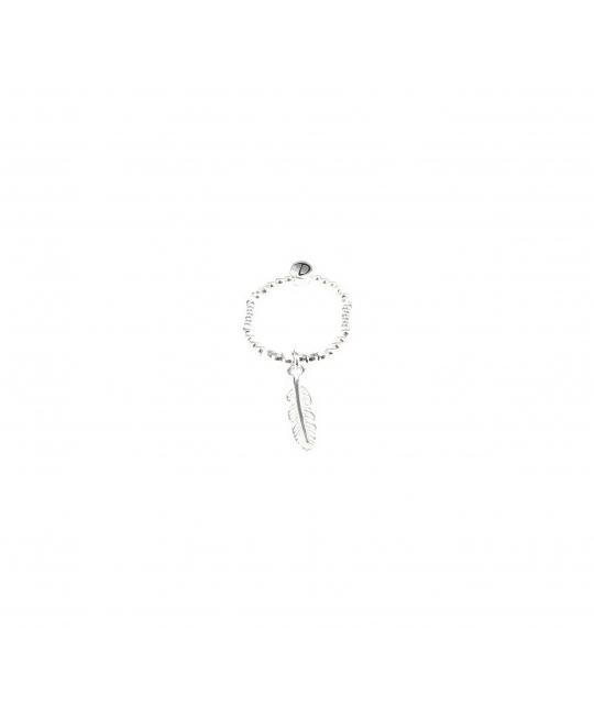 Bague élastique plume argent - Doriane bijoux - Doriane Bijoux