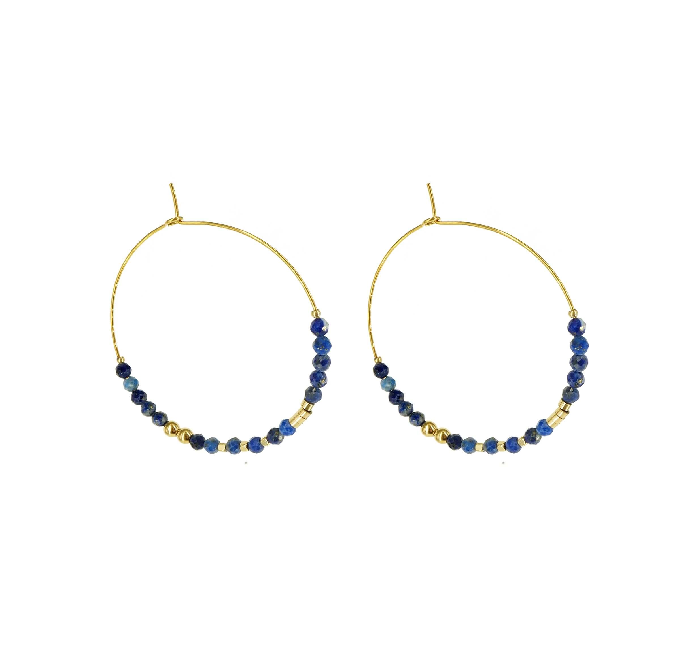 Boucles d'oreilles créoles lapis lazuli acier - Zag Bijoux