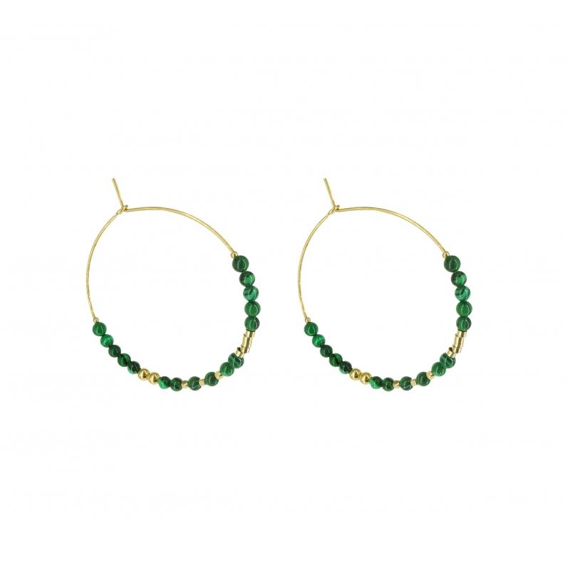 Stone malachite hoop earrings- Zag Bijoux