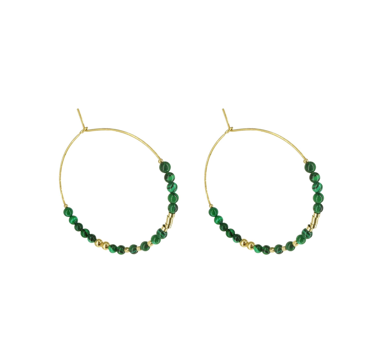 Boucles d'oreilles créoles malachite acier or - Zag Bijoux