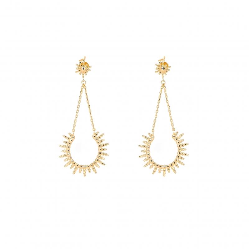 Boucles d'oreilles soleil en plaqué or - Les créations de Lili