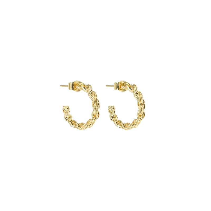 Gold braid hoop earrings -...
