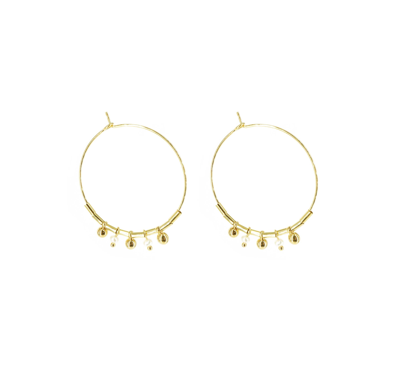 Boucles d'oreilles créoles perles or - Pomme Cannelle