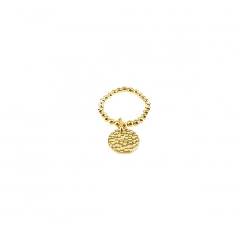 Gold hammered pastille ring...