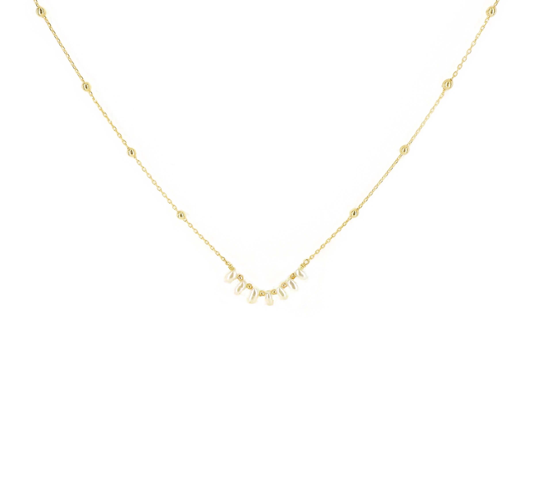 Collier riviera perles en plaqué or - Pomme Cannelle