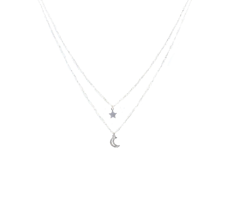 Collier double chaînes étoile lune argent - Pomme Cannelle