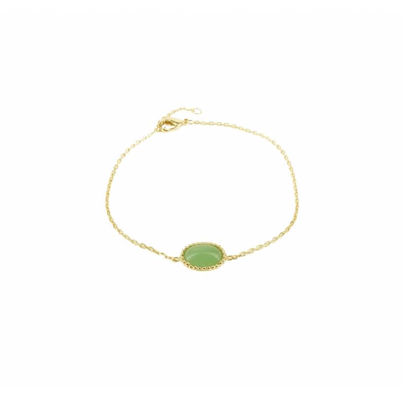 Bracelet médaille aventurine or - Pomme Cannelle - Pomme Cannelle