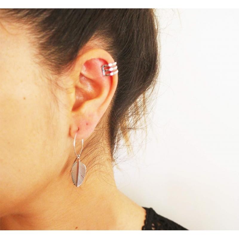 3 row steel ear cuff - Zag...