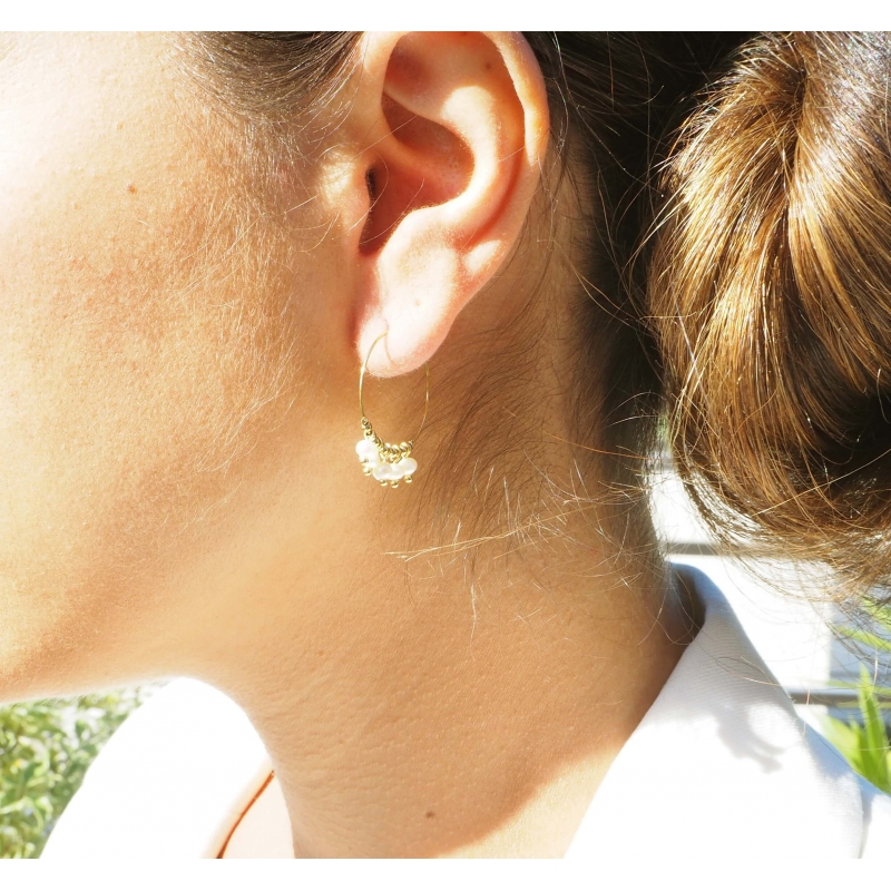 Lina heliolite gold hoop earrings - Zag Bijoux