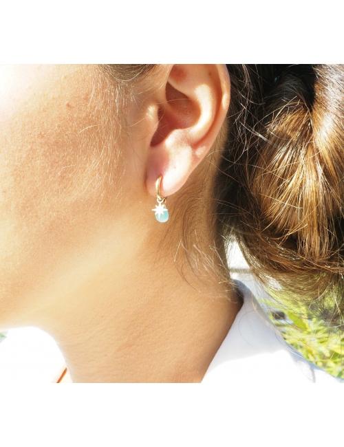 Amazonite compass gold hoop earrings - Zag Bijoux