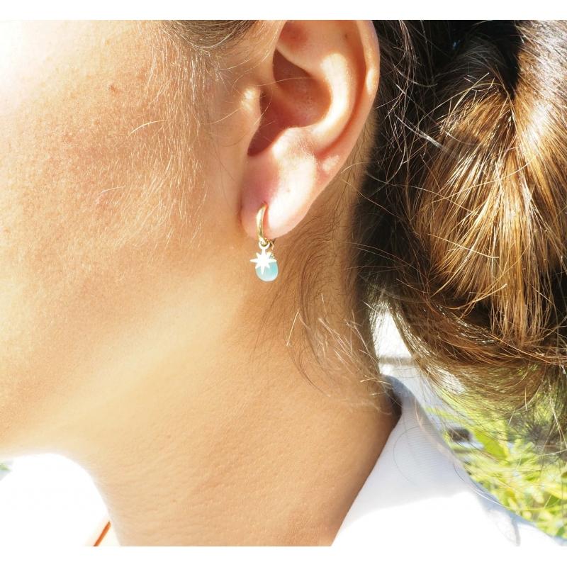 Lapis lazuli compass gold hoop earrings - Zag Bijoux