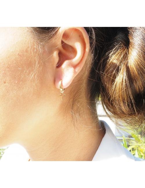 Boucles d'oreilles mini créoles croix acier jaune - Zag Bijoux