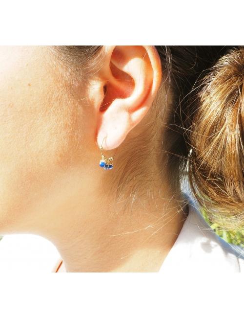 Lapis lazuli mini gold hoop earrings - Zag Bijoux
