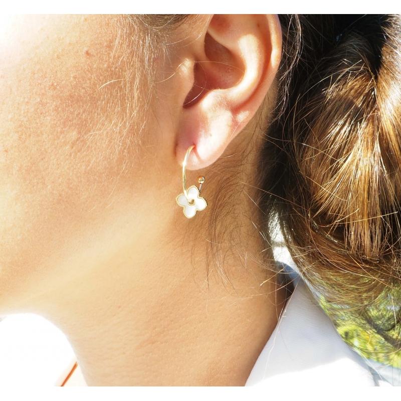 Pearly clover silver hoop earrings - Zag Bijoux