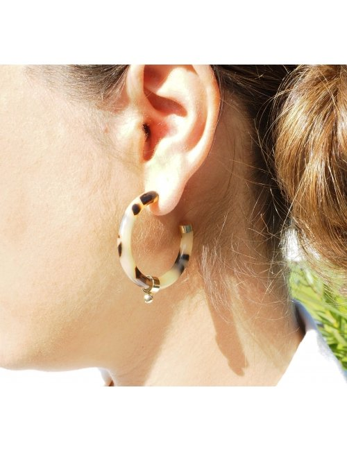 Boucles d'oreilles créoles boule acétate léopard - Zag Bijoux
