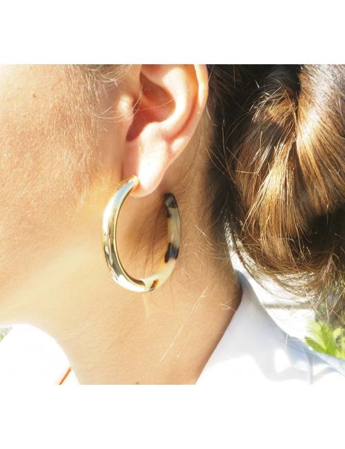 Boucles d'oreilles créoles acétate léopard - Zag Bijoux