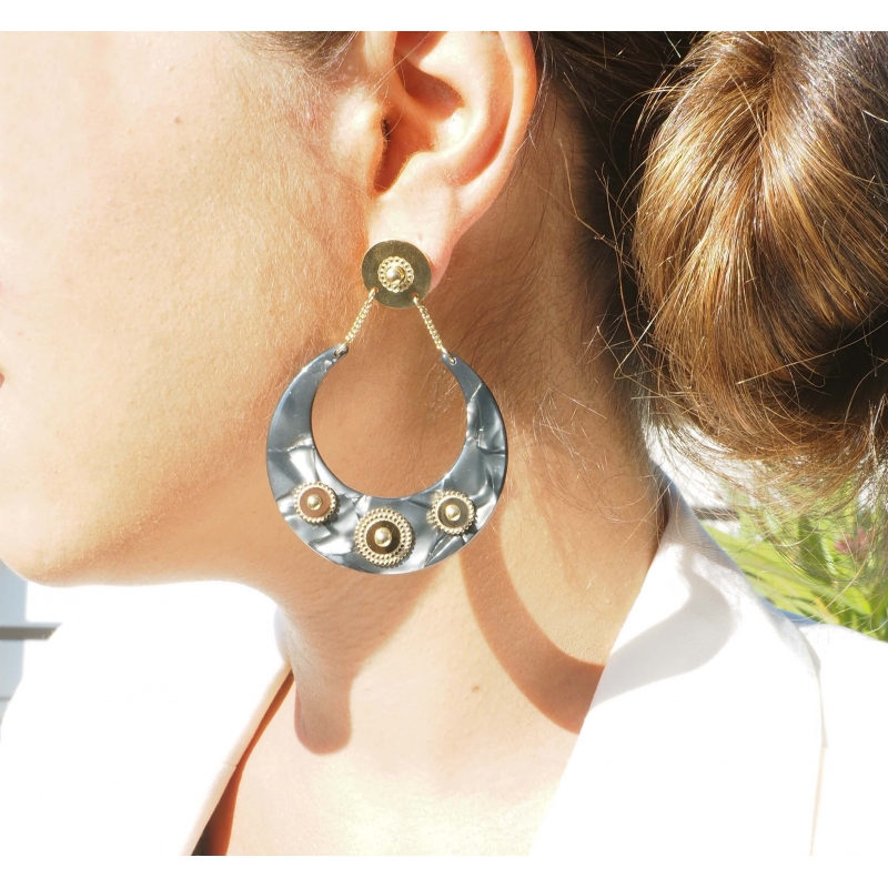 Green steel acetate moon earrings - Zag Bijoux