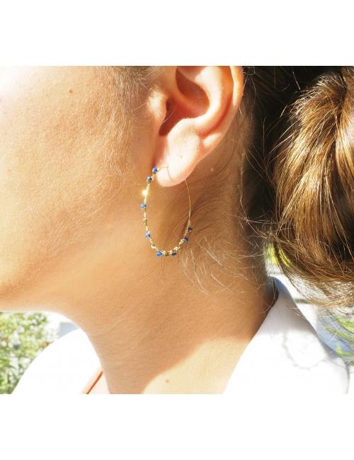 Precious lapis lazuli gold hoop earrings - Zag Bijoux