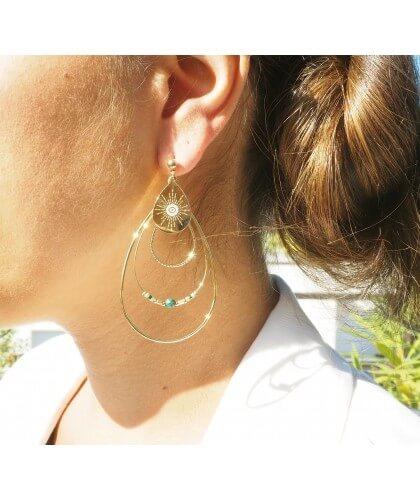 Boucles d'oreilles boréales en acier et turquoise - Zag Bijoux - Zag Bijoux