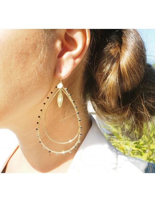 Boucles d'oreilles aurélia verte acier jaune - Zag Bijoux