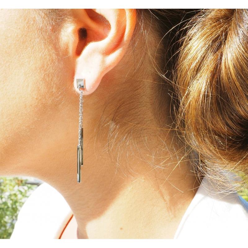 Barrettes silver earrings -...