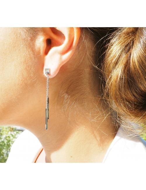 Boucles d'oreilles barrettes en acier - Zag Bijoux