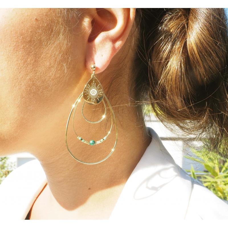 Boreale ruby gold earrings - Zag Bijoux
