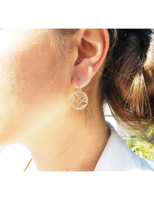 Steel tree life earrings - Zag Bijoux