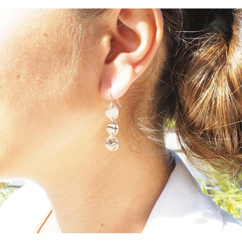 Earrings 3 steel pellets - Zag Bijoux