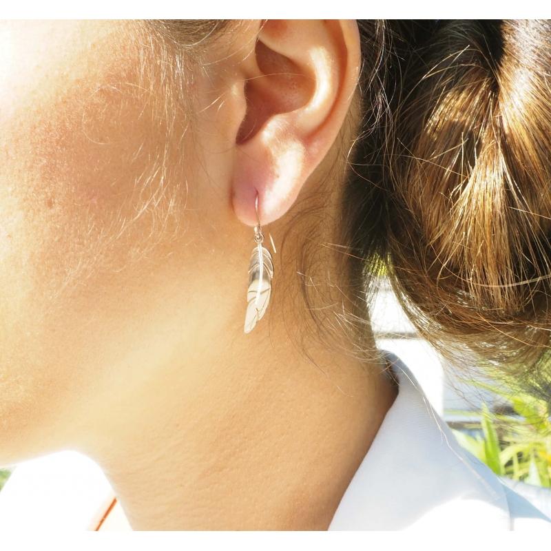 Steel feather earrings -...